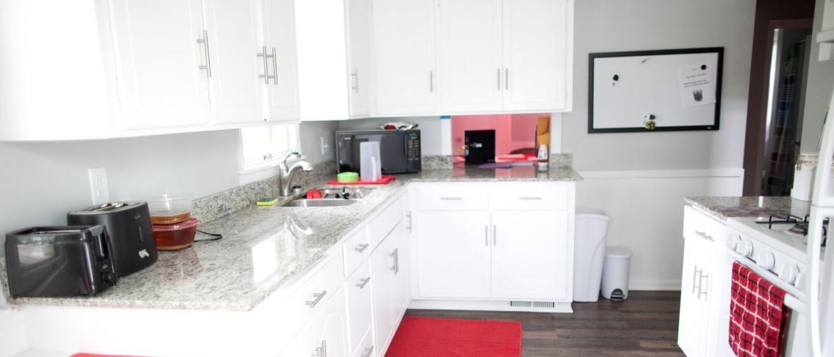 An apartment kitchen for formerly homeless youth